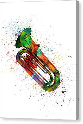 Colorful Tuba 06 Canvas Print by Aged Pixel