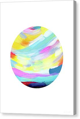 Colorful Uprise 4 Circle- Art By Linda Woods Canvas Print by Linda Woods