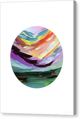 Colorful Uprising 5 Circle- Art By Linda Woods Canvas Print by Linda Woods
