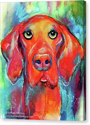 Canvas Print - Colorful Vista Dog Watercolor And Mixed by Svetlana Novikova