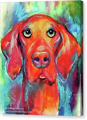 Colorful Canvas Print - Colorful Vista Dog Watercolor And Mixed by Svetlana Novikova