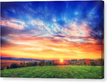 Colorful Warm Fall Sunset - Retzer Nature Center - Waukesha,wi. Canvas Print by Jennifer Rondinelli Reilly - Fine Art Photography