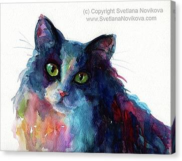 Portraits Canvas Print - Colorful Watercolor Cat By Svetlana by Svetlana Novikova