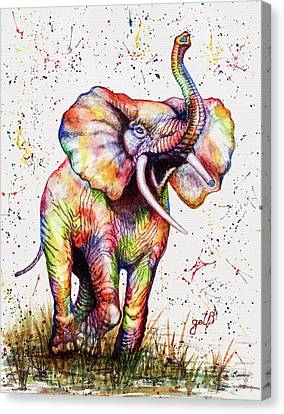 Canvas Print featuring the painting Colorful Watercolor Elephant by Georgeta Blanaru