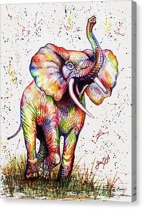 Colorful Watercolor Elephant Canvas Print by Georgeta Blanaru
