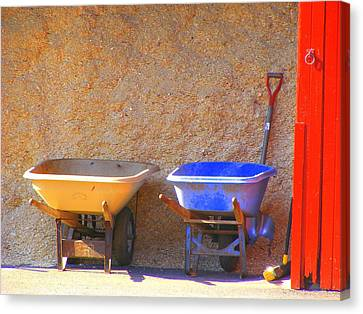 Canvas Print featuring the photograph Colorful Wheelbarrows by Margie Avellino