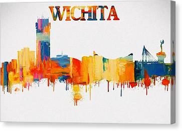 Colorful Wichita Skyline Silhouette Canvas Print by Dan Sproul