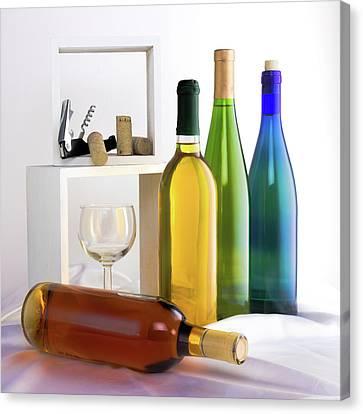 Corkscrew Canvas Print - Colorful Wine Bottles by Tom Mc Nemar