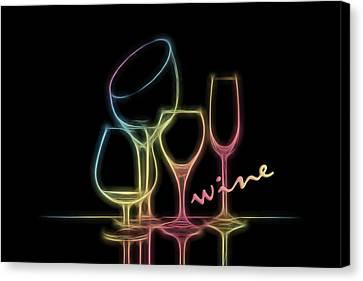 Wine Glass Canvas Print - Colorful Wineglasses by Tom Mc Nemar