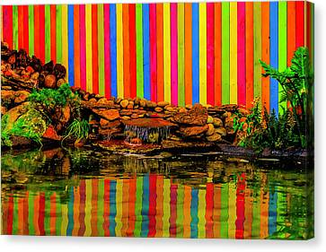 Colorful Wooden Fence Reflection Canvas Print