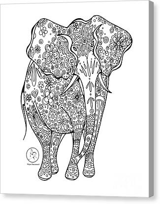 Coloring Page With Beautiful Elephant Drawing By Megan Duncanson Canvas Print