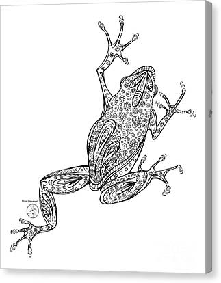 Coloring Page With Beautiful Frog Drawing By Megan Duncanson Canvas Print