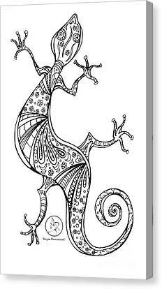 Coloring Page With Beautiful Lizard Drawing By Megan Duncanson Canvas Print