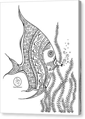 Coloring Page With Beautiful Tropical Fish 2 Drawing By Megan Duncanson Canvas Print