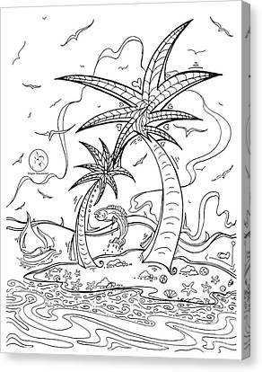 Coloring Page With Beautiful Tropical Island Drawing By Megan Duncanson Canvas Print