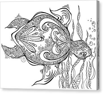 Coloring Page With Beautiful Turtle Drawing By Megan Duncanson Canvas Print