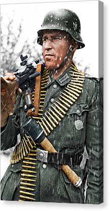 Colorized Ww2 German Mg'er Canvas Print by John Wills
