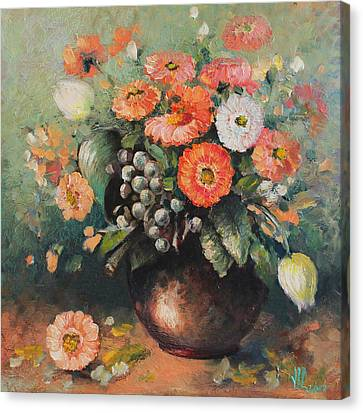 Coloroful Zinnias Bouqet Canvas Print