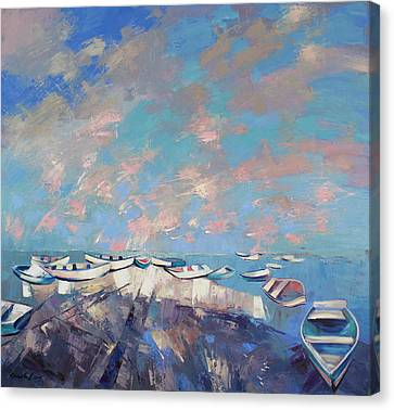 Canvas Print featuring the painting Colors Flamingo by Anastasija Kraineva