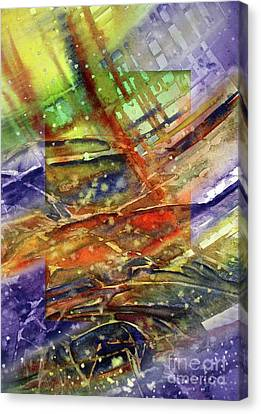 Canvas Print featuring the painting Colors Interrupting by Allison Ashton