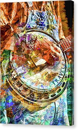 Colors Of A Banjo Busker Canvas Print by John Haldane