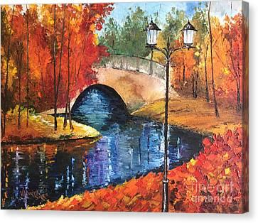 Pallet Knife Canvas Print - Colors Of Fall by Viktoriya Sirris