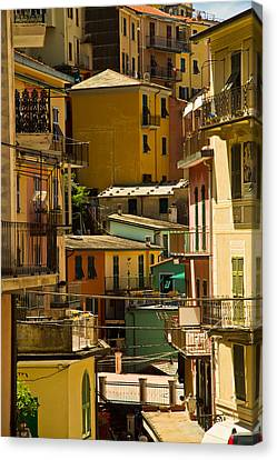 Colors Of Manarola Italy Canvas Print by Roger Mullenhour