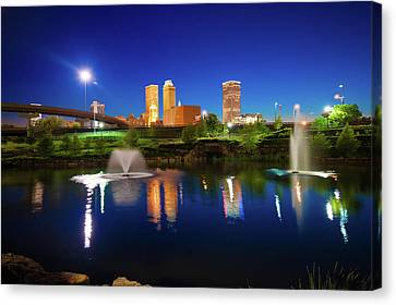 Canvas Print featuring the photograph Colors Of Night Tulsa Oklahoma Downtown City Skyline by Gregory Ballos