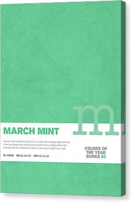 March Canvas Print - Colors Of The Year Series 03 Graphic Design March Mint by Design Turnpike
