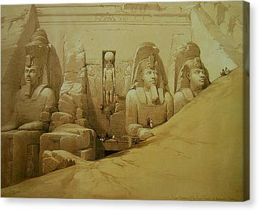 Pharaoh Canvas Print - Colossal Figures In Front Of The Great Temple Of Aboo-simbel by David Roberts