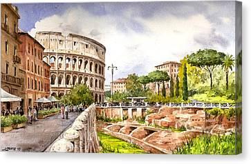 Colosseo Romano Canvas Print by Jose Luis Vertiz