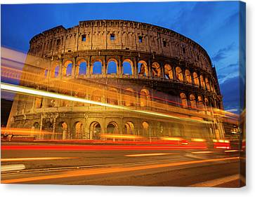 Colosseum At Dusk Canvas Print by Mircea Costina Photography