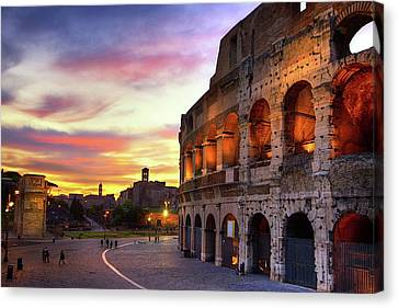 Ancient Canvas Print - Colosseum At Sunset by Christopher Chan