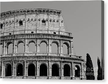 Colosseum Or Coliseum Black And White Canvas Print by Edward Fielding
