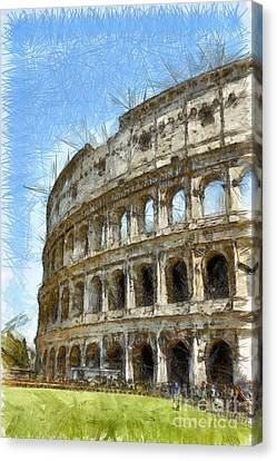 Colosseum Or Coliseum Pencil Canvas Print by Edward Fielding