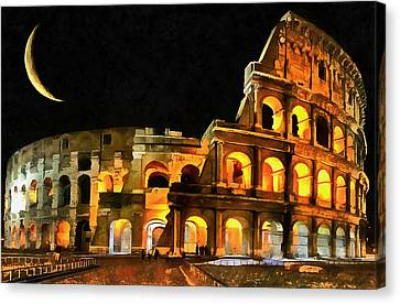 Colosseum Under The Moon Canvas Print