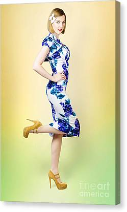 Colourful A Blond Retro Pinup Girl In High Heels Canvas Print by Jorgo Photography - Wall Art Gallery