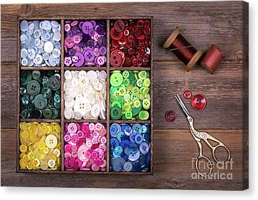 Colourful Buttons With Needle, Thread And Scissors Canvas Print by Jane Rix