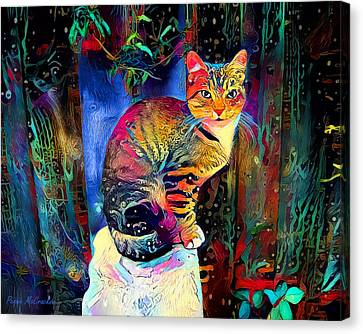 Canvas Print featuring the digital art Colourful Calico by Pennie McCracken