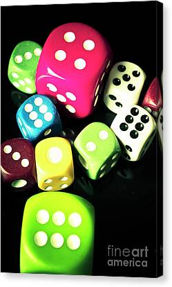 Colourful Casino Dice  Canvas Print by Jorgo Photography - Wall Art Gallery