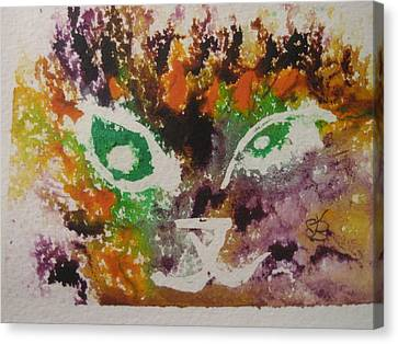 Canvas Print featuring the drawing Colourful Cat Face by AJ Brown