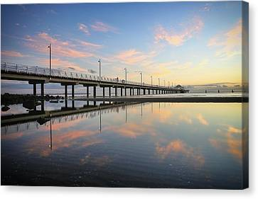 Colourful Cloud Reflections At The Pier Canvas Print