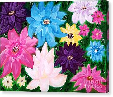 Canvas Print featuring the painting Colourful Flowers by Sonya Nancy Capling-Bacle