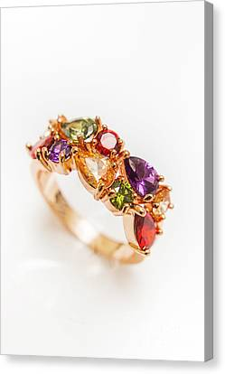 Colourful Gem Stone Engagement Ring Canvas Print by Jorgo Photography - Wall Art Gallery