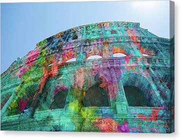 Canvas Print featuring the mixed media Colourful Grungy Colosseum In Rome by Clare Bambers
