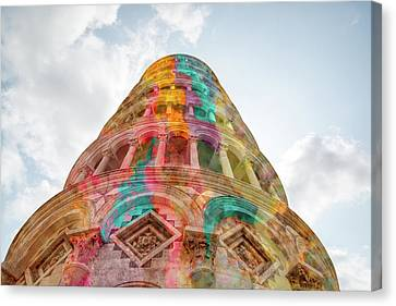 Canvas Print featuring the mixed media Colourful Leaning Tower Of Pisa by Clare Bambers