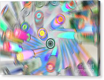 Canvas Print featuring the digital art Colourful Pens by Wendy Wilton