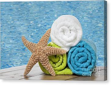 Water Swimming Pool Canvas Print - Colourful Towels by Amanda Elwell