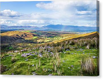 Canvas Print featuring the photograph Colourful Undulating Irish Landscape In Kerry  by Semmick Photo
