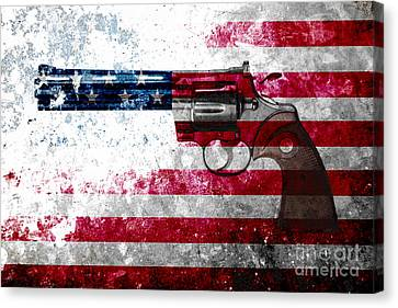 Colt Python 357 Mag On American Flag Canvas Print